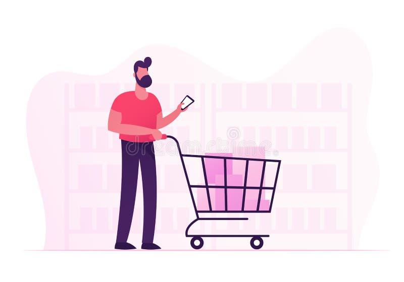 Kundställning i livsmedelsbutik eller supermarket med gods i shoppingspårvagnen som rymmer Smartphone i hand Man som besöker lagr vektor illustrationer