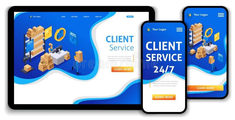 Kundtjänst för begrepp för sida för Websitemalllandning isometrisk, heta linjenoperatör, global teknisk service 24 7 vektor illustrationer