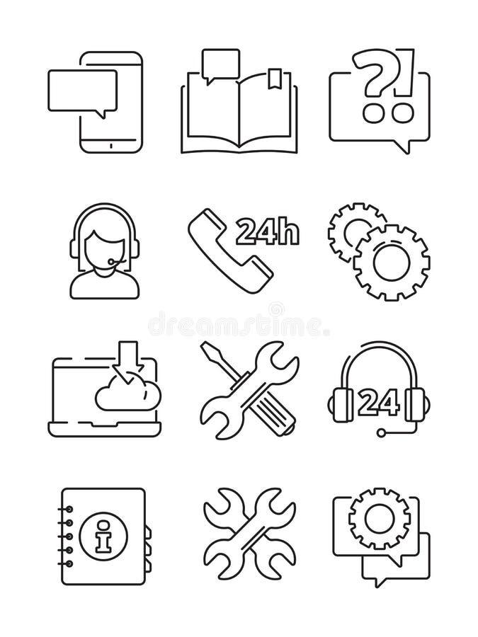 Kundtjänsthjälpsymbol Isolerade för kontorsrengöringsduk- eller online-- och telefonservice för mitt för admin för vektor linjära royaltyfri illustrationer