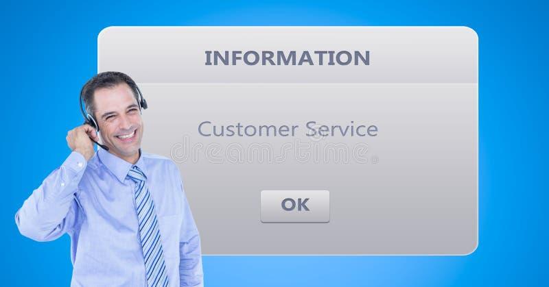 Kundtjänstrepresentant som använder hörlurar med mikrofon vid dialogasken vektor illustrationer