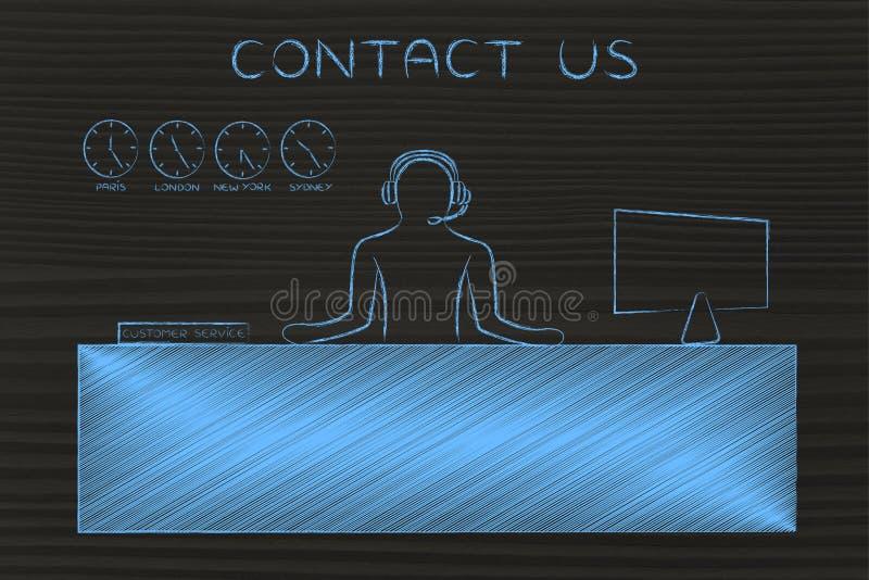 Kundtjänstskrivbordet med svarande appeller för anställd, kontaktar oss royaltyfria bilder