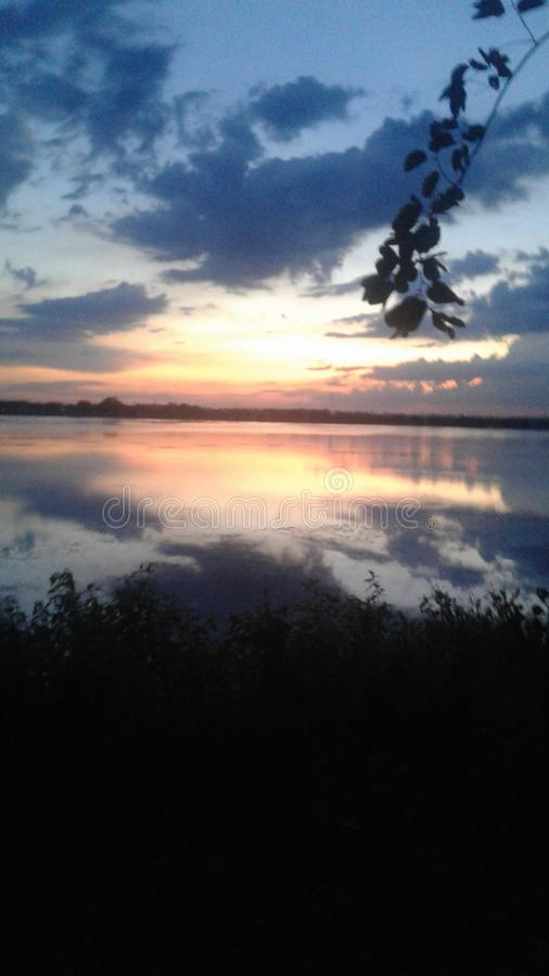 Kundvad lake at Davanagere. During sunset at kundvad lake ,a wonderful climate to watch. We can see the beauty of nature . This is place is located in Davanagere stock photos