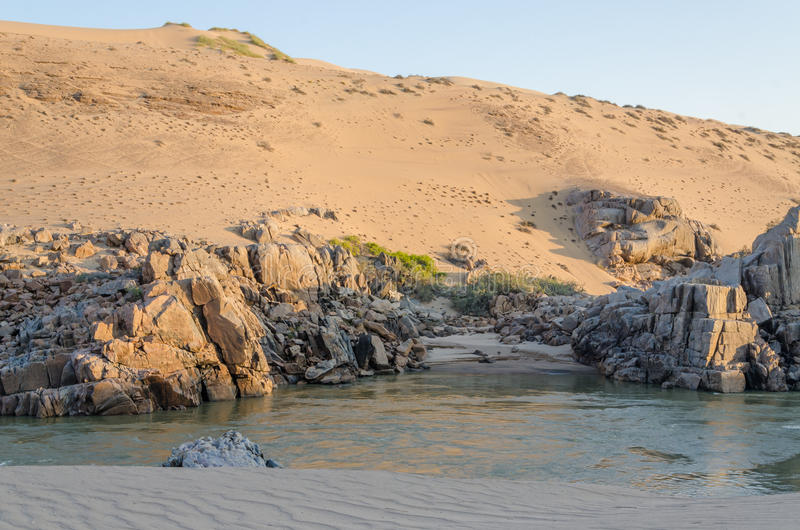 Kunene River in front of towering ancient Namib Desert sand dunes of Namibia and Angola. With sparse vegetation royalty free stock photos