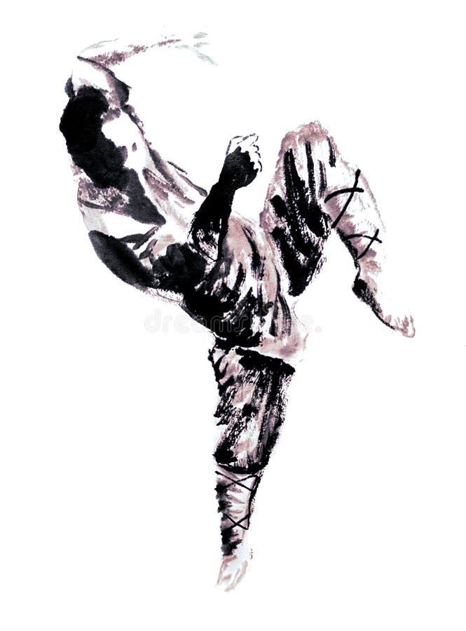kung fu大师的中国或日本墨水绘画 皇族释放例证