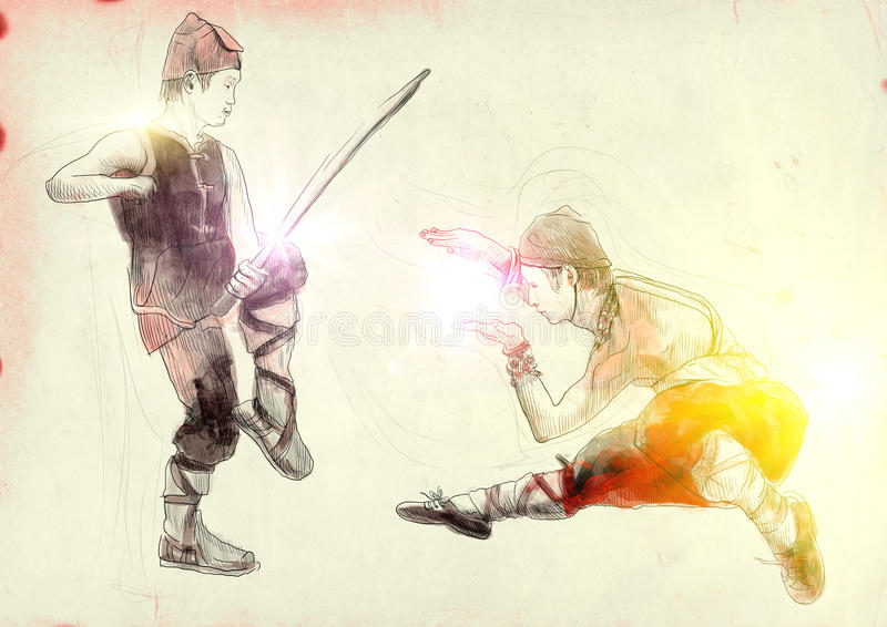 Kung fu. Chinese martial art. /// A hand drawn illustration of Chinese martial arts, popularly referred to as . /// Post - processing: Sunrise light royalty free illustration
