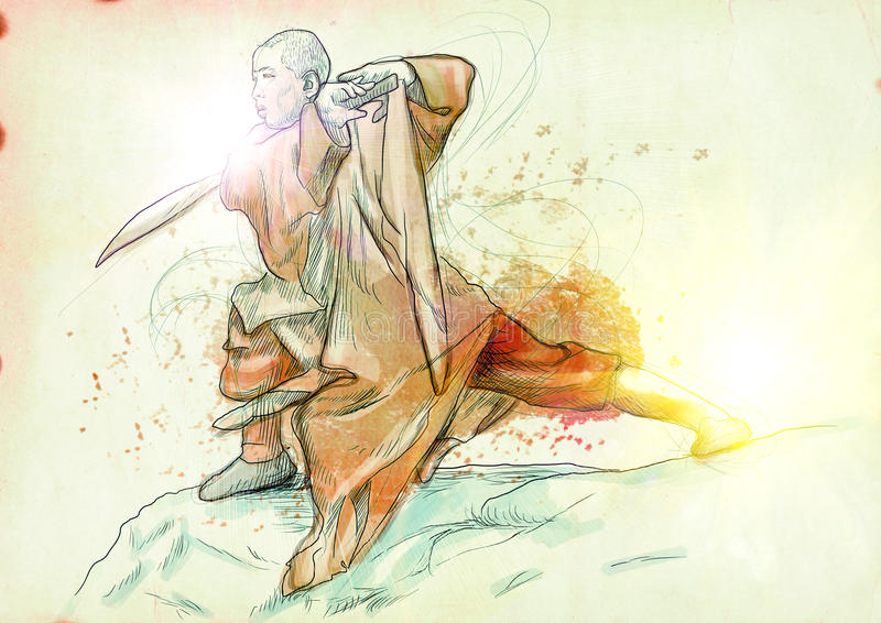 Kung fu. Chinese martial art. /// A hand drawn illustration of Chinese martial arts, popularly referred to as . /// Post - processing: Sunrise light vector illustration
