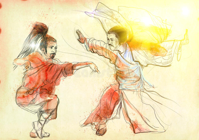 Kung fu. Chinese martial art. /// A hand drawn illustration of Chinese martial arts, popularly referred to as . /// Post - processing: Sunrise light stock illustration