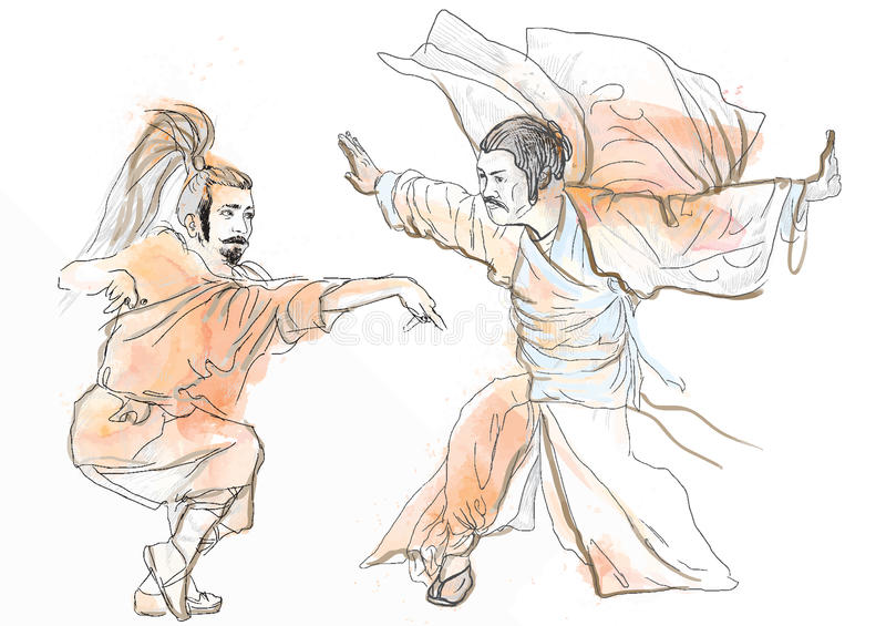 Kung fu. Chinese martial art. /// A hand drawn illustration converted into vector of Chinese martial arts, popularly referred to as vector illustration