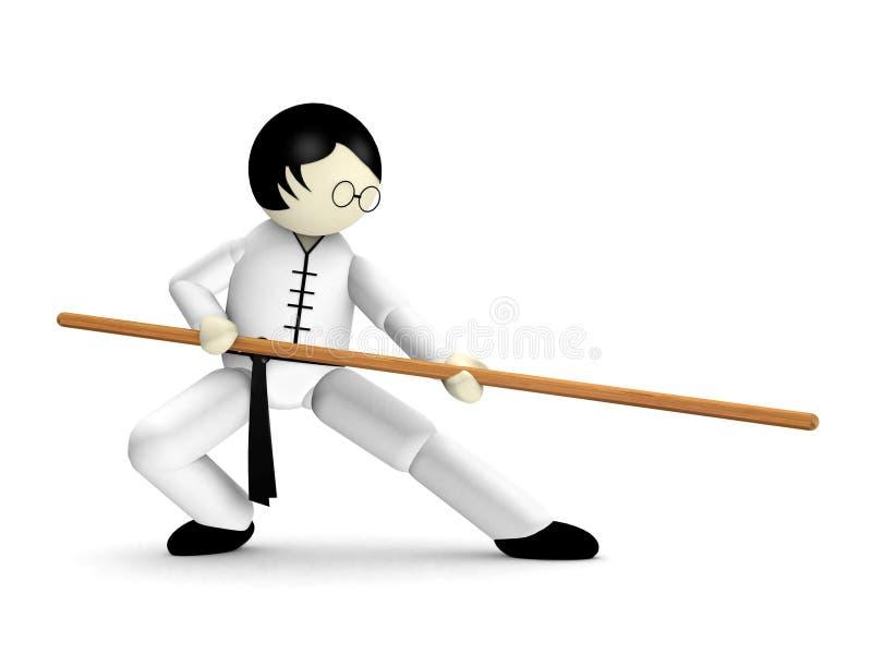 Kung Fu 3D en blanco ilustración del vector