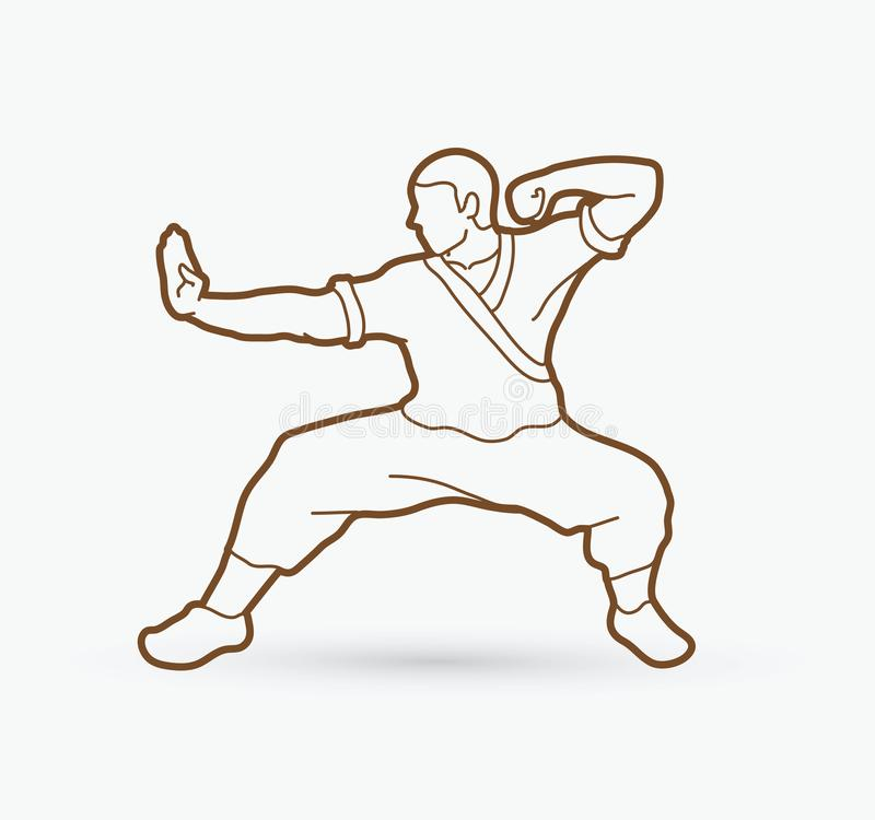 Kung fu action ready to fight royalty free illustration