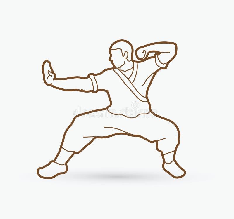 Kung-Fu-Aktion bereit zu kämpfen lizenzfreie abbildung