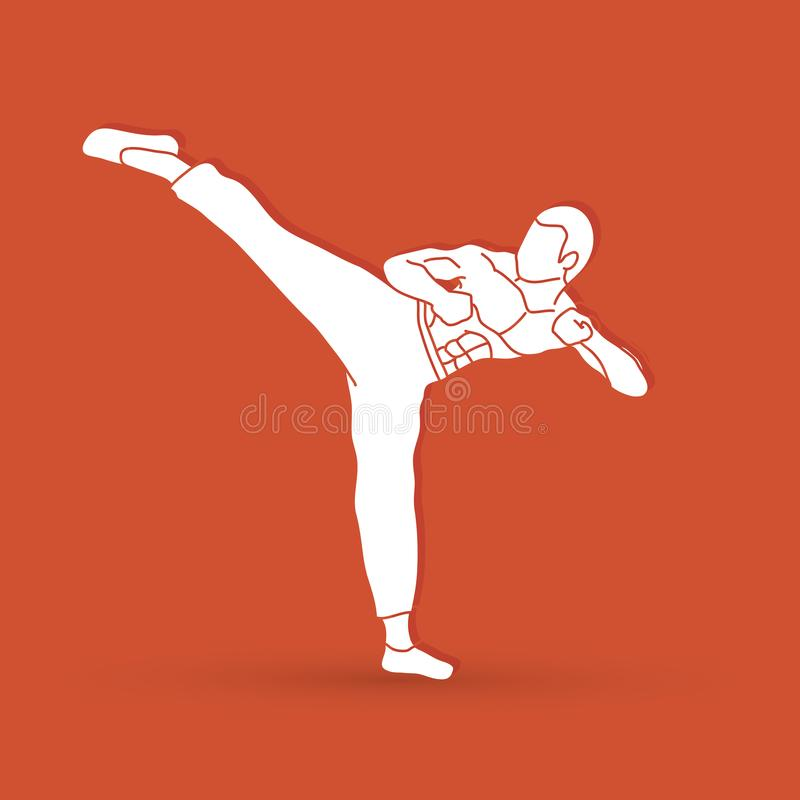 Kung-fu, coup-de-pied de karaté illustration stock