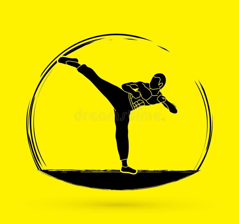 Kung-fu, coup-de-pied de karaté illustration libre de droits