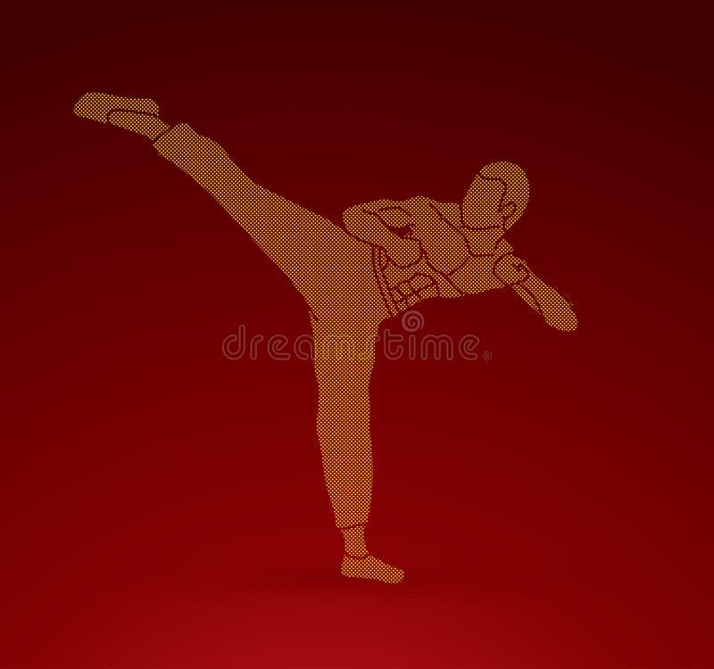 Kung-fu, coup-de-pied de karaté illustration de vecteur