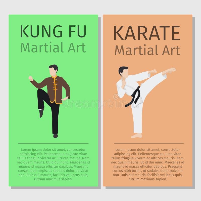Kung-fu das artes marciais, insetos do karaté ilustração do vetor