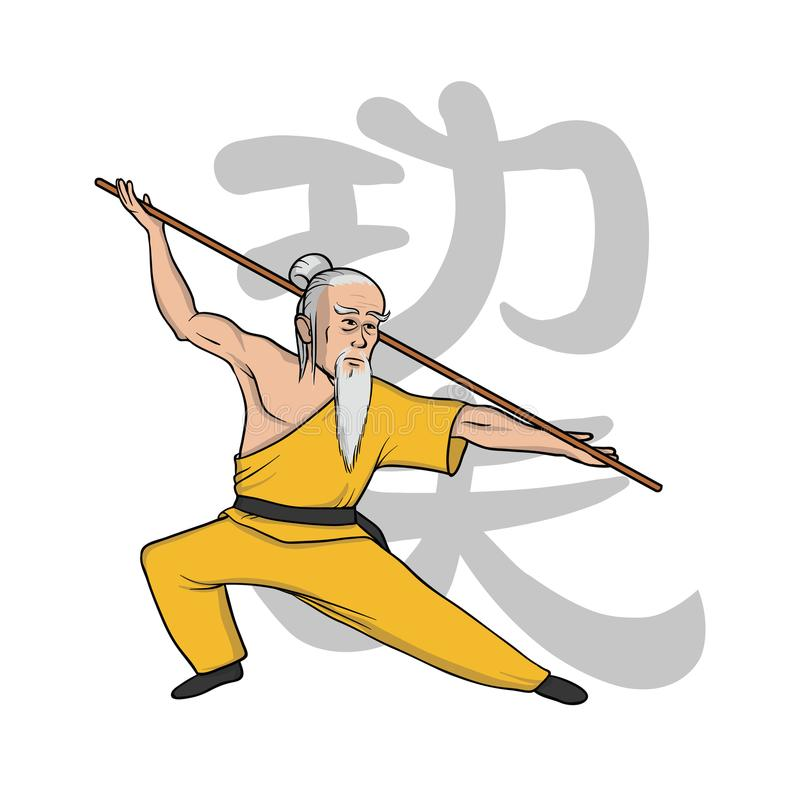 Kung-fu de pratique de moine de Shaolin vecteur martial de silueta de filles d'art Illustration de vecteur, d'isolement sur le bl illustration stock