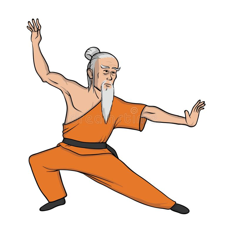 Kung fu eller wushu för Shaolin munk praktiserande Gammal förlage, kampsport Vektorillustration som isoleras på vit bakgrund vektor illustrationer