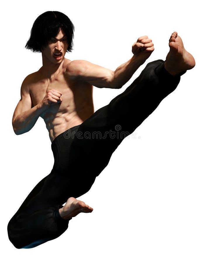 Kung fu martial artist. Performing a flying kick royalty free stock image