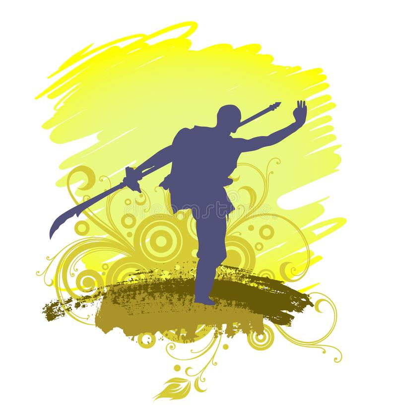 A Kung Fu Master Silhouette.  royalty free illustration
