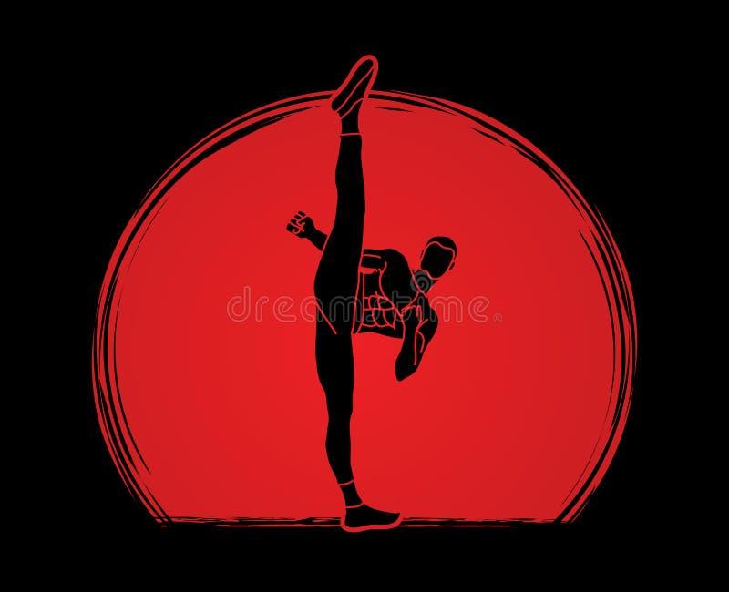 Kung-fu, opinião dianteira do pontapé alto do karaté ilustração do vetor