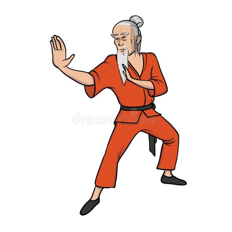 Kung-fu ou wushu praticando da monge de Shaolin Antigo mestre, arte marcial Ilustração do vetor, isolada no fundo branco ilustração stock