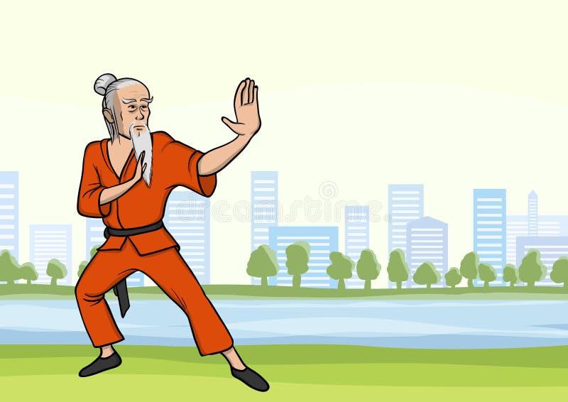 Kung-fu practicante o wushu del viejo hombre en parque de la ciudad Amo de los artes marciales con una barba Ilustración del vect libre illustration