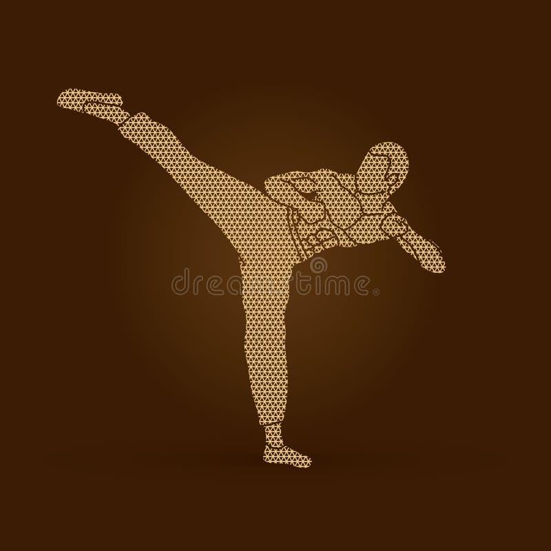 Kung-fu, retroceso del karate stock de ilustración