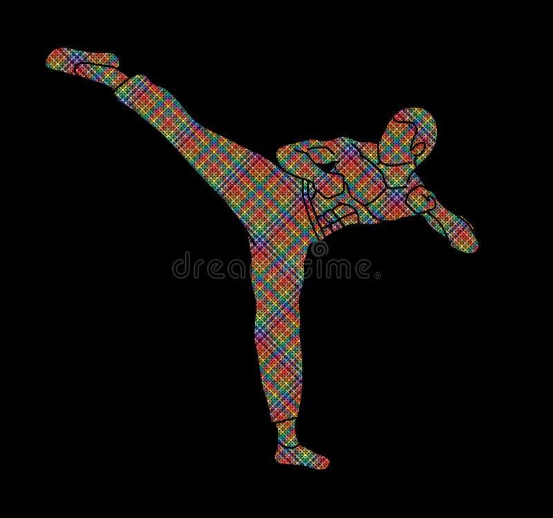 Kung-fu, retroceso potente del karate ilustración del vector