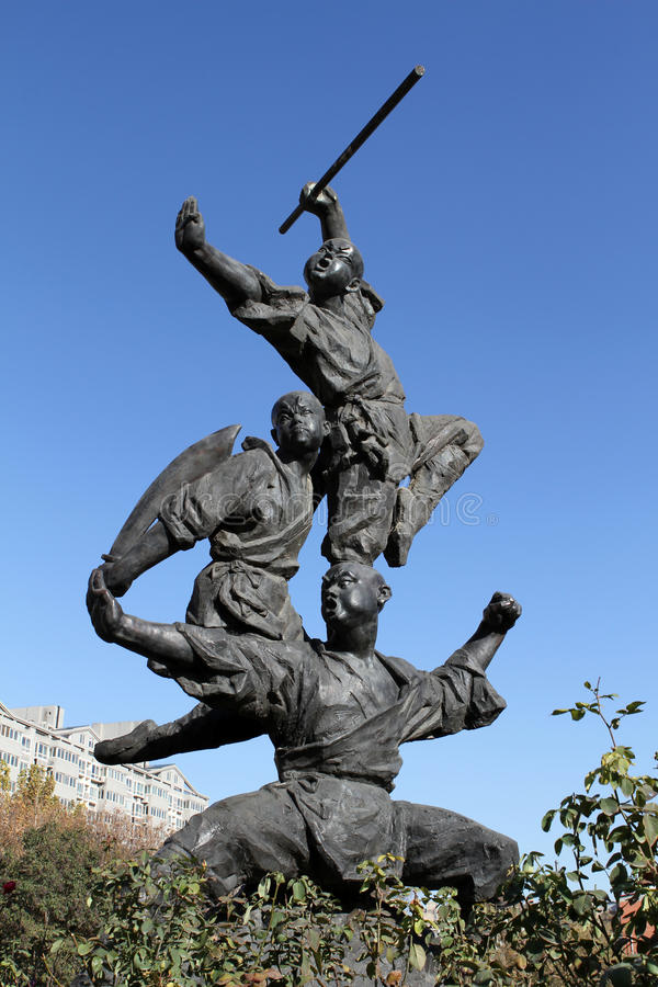 Kung Fu sculpture stock images