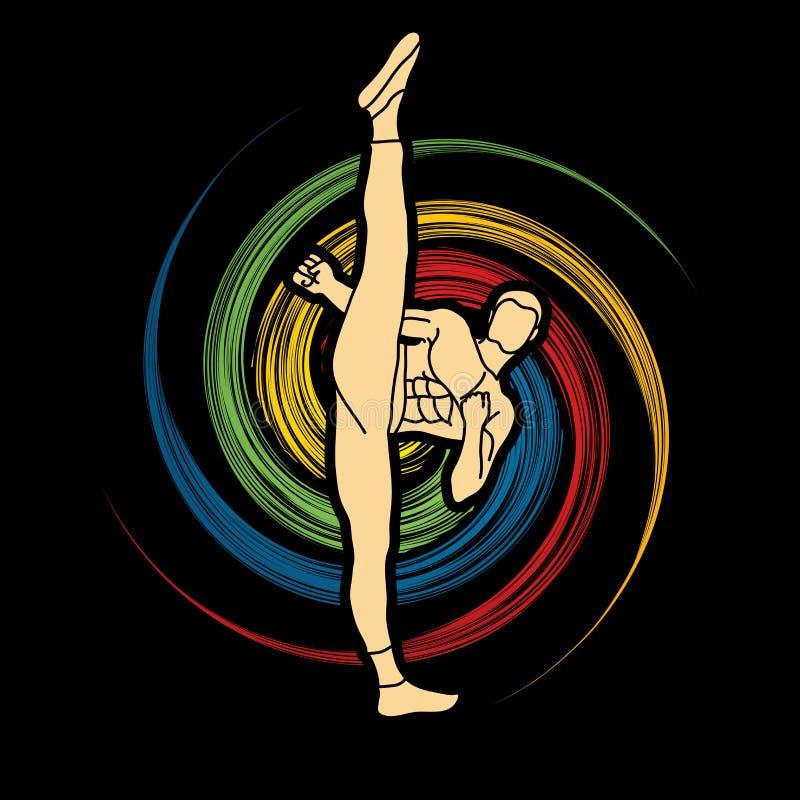 Kung-fu, vue de face de coup-de-pied élevé de karaté illustration de vecteur