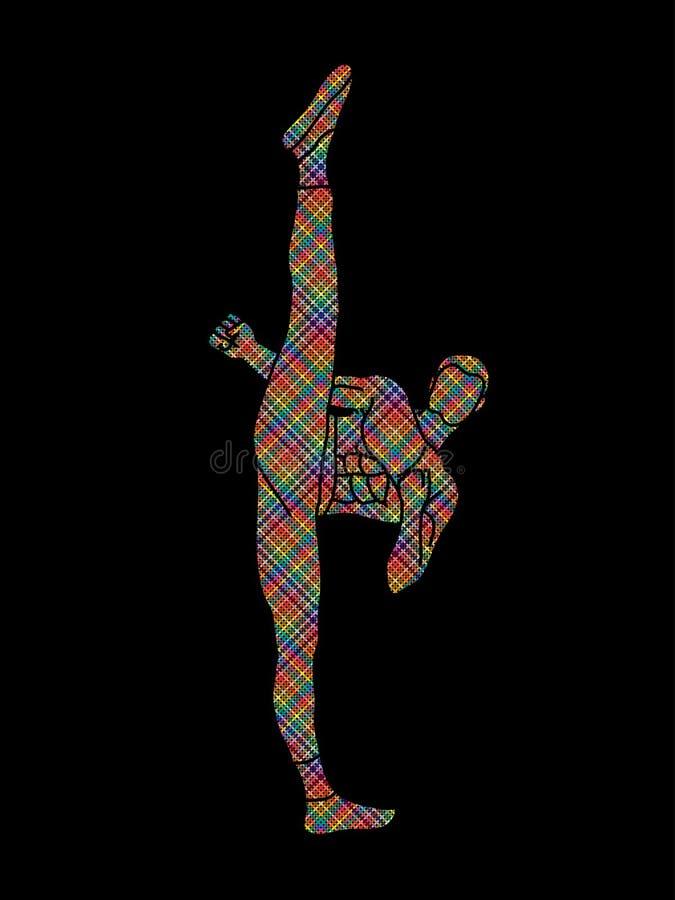 Kung-fu, vue de face de coup-de-pied élevé de karaté illustration libre de droits