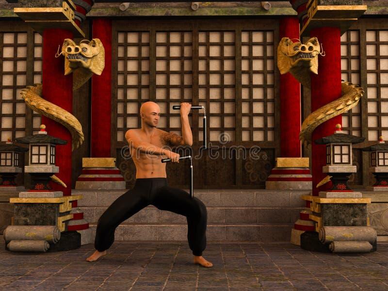 Kung Fu wojownik ilustracja wektor