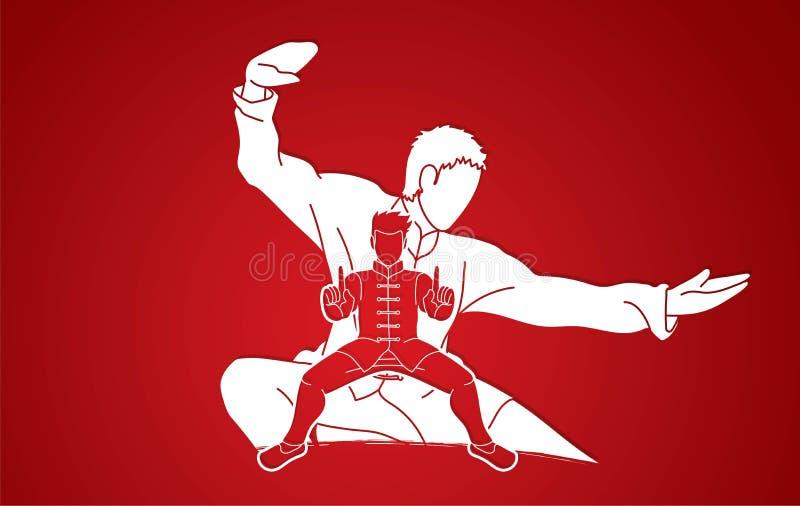 Kung Fu wojownik, sztuka samoobrony akcji pozy kreskówki grafika royalty ilustracja