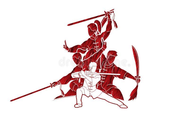Kung Fu, Wushu con las espadas presenta gráfico stock de ilustración
