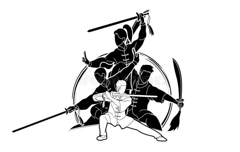 Kung Fu, Wushu mit Klingen werfen grafisches auf lizenzfreie abbildung