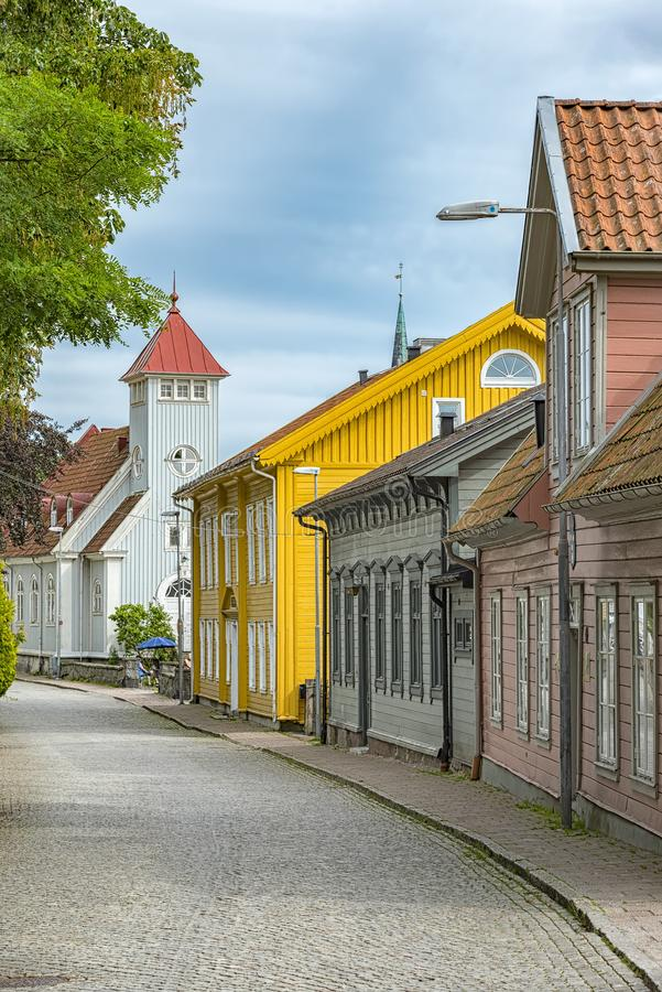 Kungalv Street Scene. Street scene from the Swedish town of Kungalv royalty free stock images