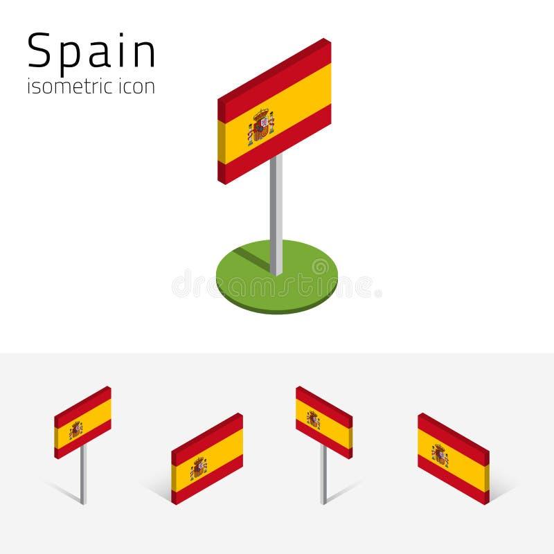 Kungarike av den Spanien flaggan, vektoruppsättning av isometriska symboler 3D vektor illustrationer