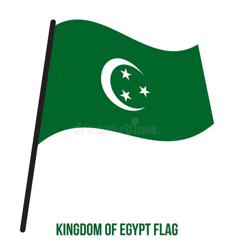 Kungarike av illustrationen för vinkande vektor för Egypten flagga på vit bakgrund vektor för stil för tillgänglig egypt flagga g royaltyfri illustrationer