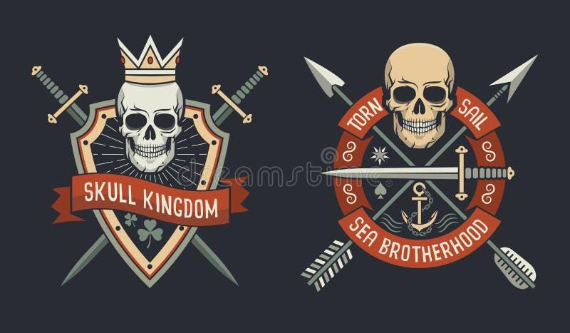 Kungarike- och havsbrödraskapemblem royaltyfri illustrationer
