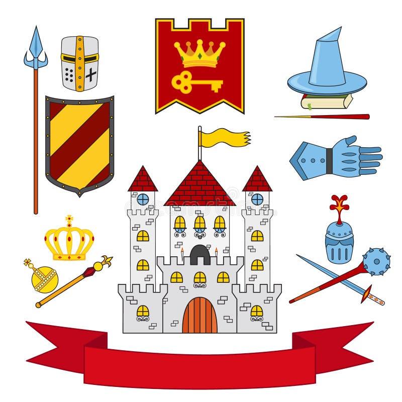 Kungarikeuppsättning - slott, lance, sköld, riddare, hjälmar, glåmig magi stock illustrationer