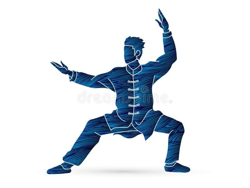 Kungfuactie klaar om beeldverhaal te bestrijden vector illustratie