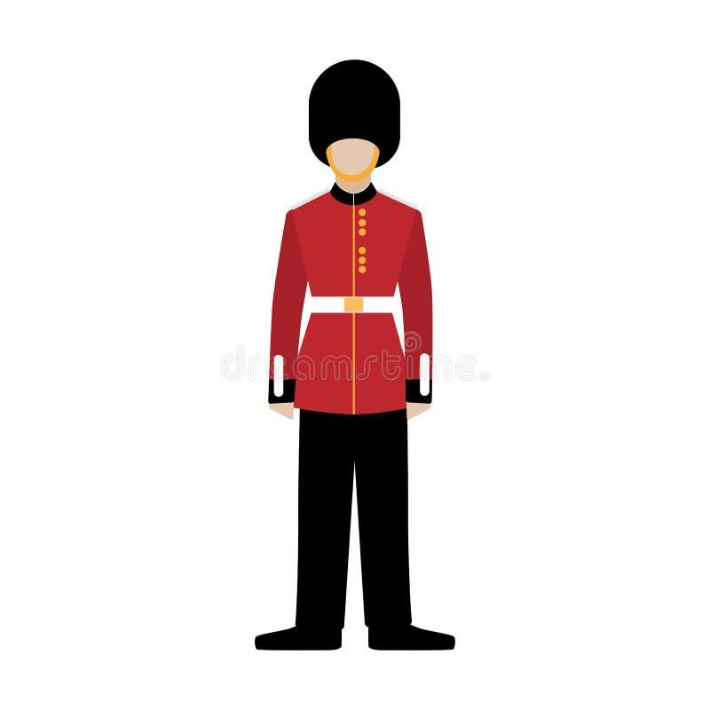Kunglig brittisk gardist Soldat av den kungliga vakten grenadier royaltyfri illustrationer