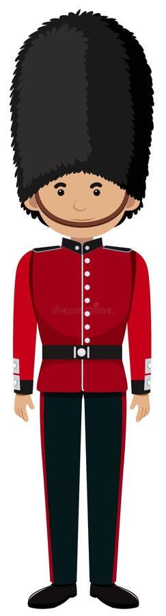 Kunglig brittisk soldat Uniform på vit bakgrund stock illustrationer