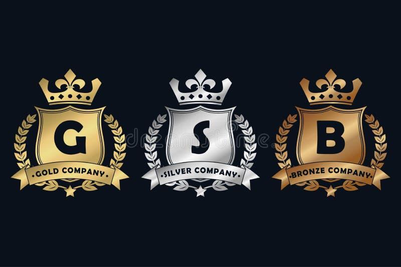Kunglig designlogo för guld, för silver och för brons med skölden, kronan, lagerkransen och bandet Lyxig logotypmall för företag royaltyfri illustrationer