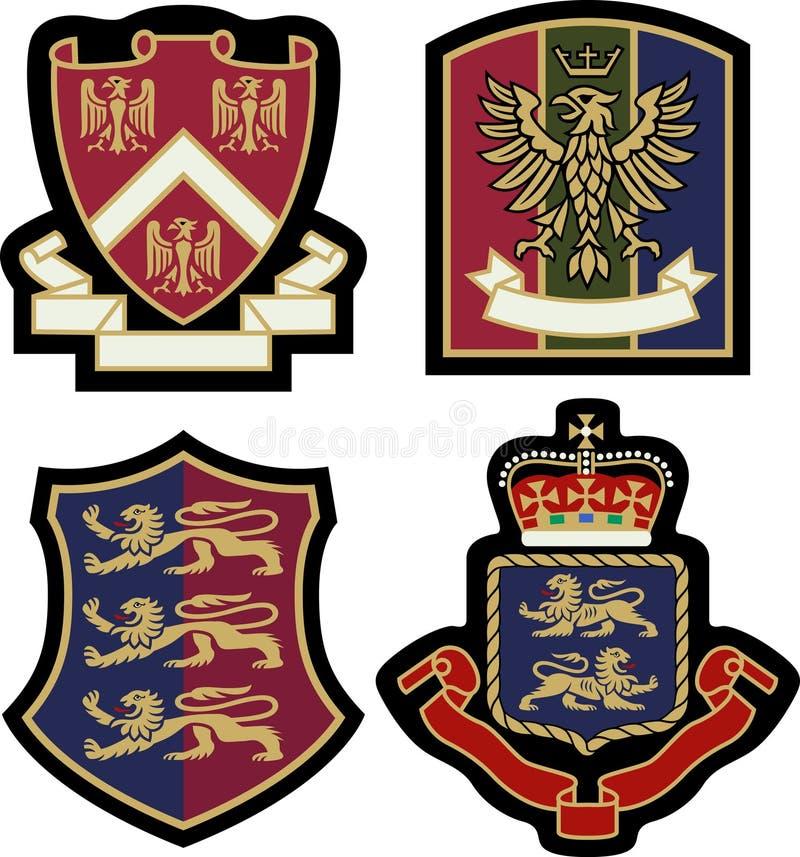 Kunglig emblememblemsköld royaltyfri illustrationer