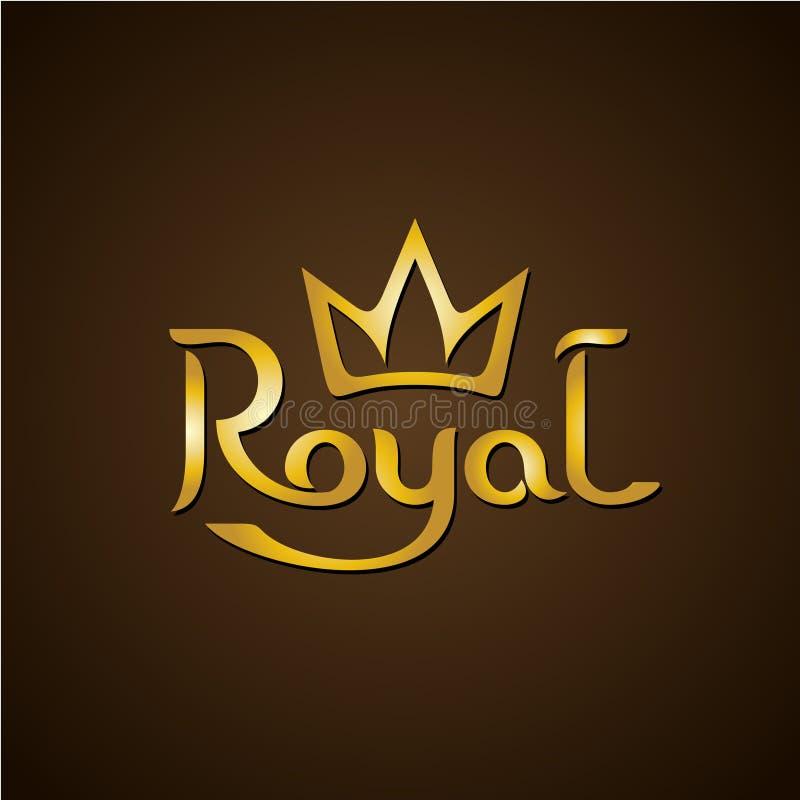 Kunglig guld- bokstavstextlogo med kronan royaltyfri illustrationer
