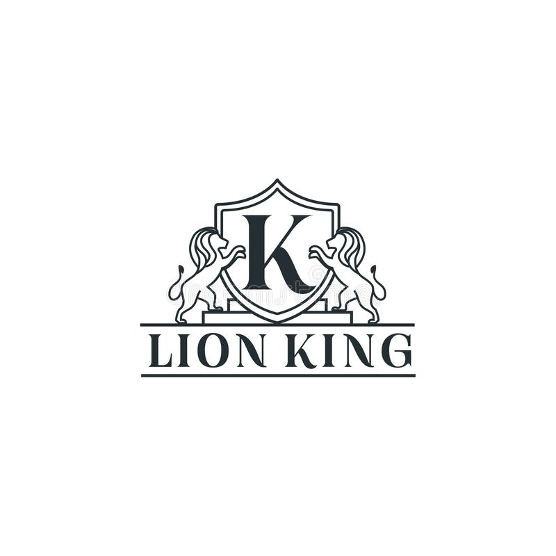 Kunglig inspiration för Lion King logodesign - vektor stock illustrationer