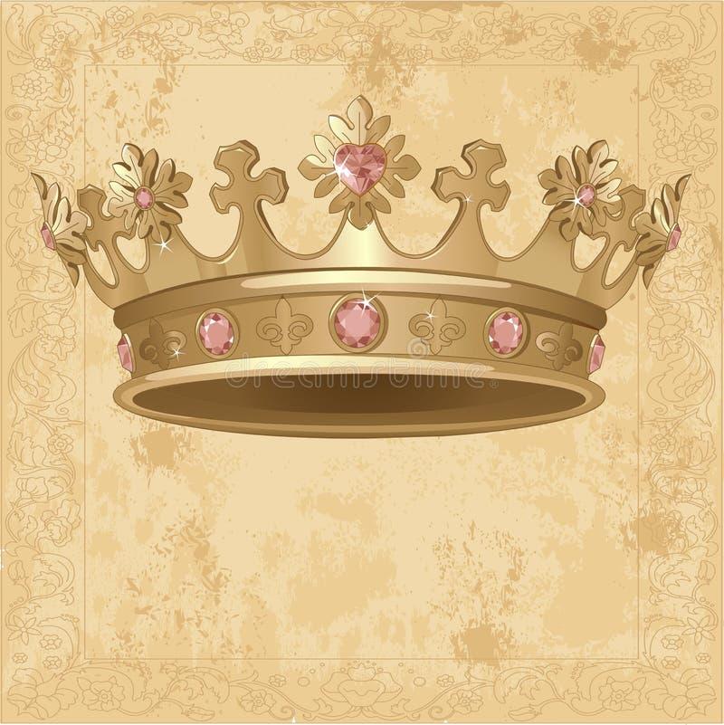 Kunglig kronabakgrund stock illustrationer