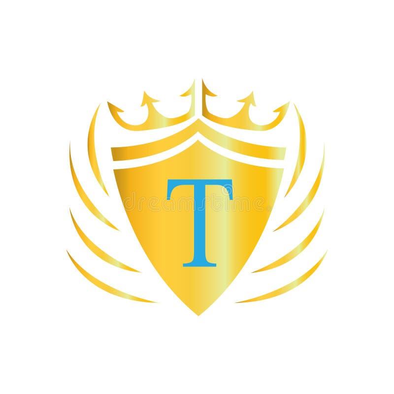 Kunglig kronalogo bokstavslogo t Vektorsymbol av logoen stock illustrationer