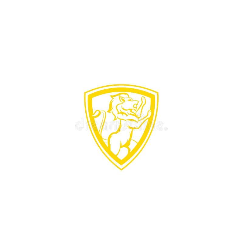 Kunglig Lion King/vapenlogo Mall för design för lejonsköldlogo, lejonhuvudlogo, beståndsdel för märkesidentiteten, vektorillustra royaltyfri illustrationer